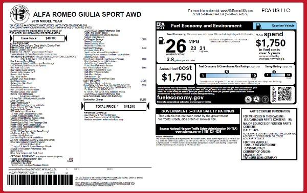 New 2019 Alfa Romeo Giulia Sport Q4 for sale Sold at Alfa Romeo of Westport in Westport CT 06880 24