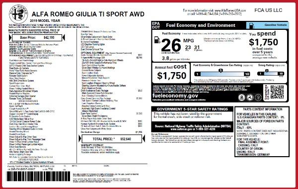 New 2019 Alfa Romeo Giulia Ti Sport Q4 for sale Sold at Alfa Romeo of Westport in Westport CT 06880 2