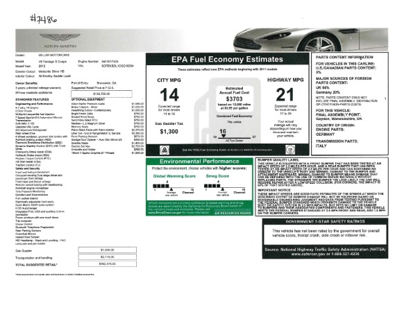 Used 2012 Aston Martin V8 Vantage S Coupe for sale Sold at Alfa Romeo of Westport in Westport CT 06880 21