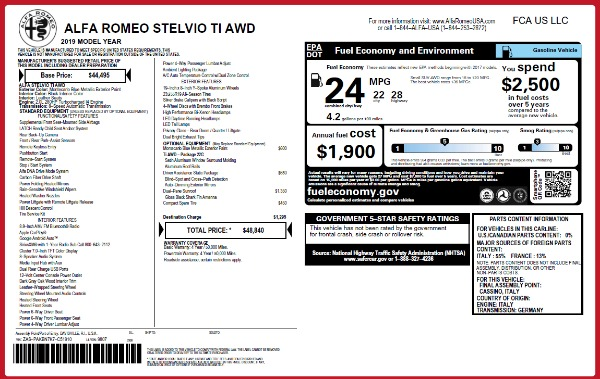 New 2019 Alfa Romeo Stelvio Ti Q4 for sale Sold at Alfa Romeo of Westport in Westport CT 06880 2