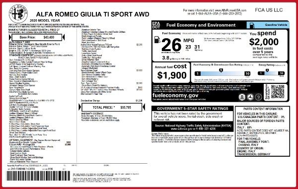 New 2020 Alfa Romeo Giulia Ti Sport Q4 for sale $55,795 at Alfa Romeo of Westport in Westport CT 06880 2