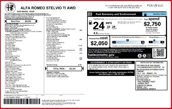 New 2020 Alfa Romeo Stelvio Ti Q4 for sale Sold at Alfa Romeo of Westport in Westport CT 06880 2