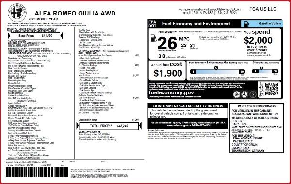 New 2020 Alfa Romeo Giulia Q4 for sale Sold at Alfa Romeo of Westport in Westport CT 06880 2