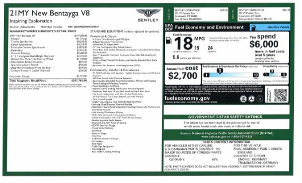 New 2021 Bentley Bentayga V8 for sale Sold at Alfa Romeo of Westport in Westport CT 06880 10