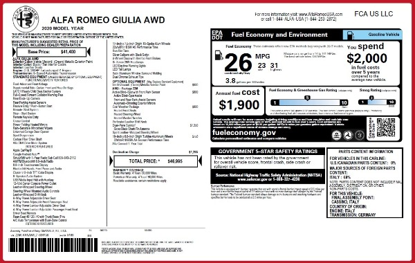 New 2020 Alfa Romeo Giulia Q4 for sale Sold at Alfa Romeo of Westport in Westport CT 06880 2