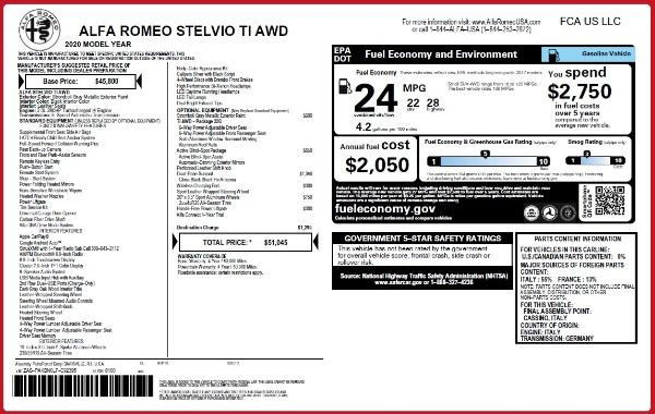 New 2020 Alfa Romeo Stelvio Ti Q4 for sale $51,045 at Alfa Romeo of Westport in Westport CT 06880 2