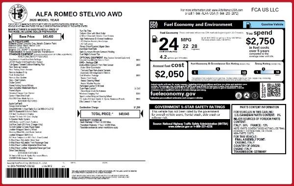 New 2020 Alfa Romeo Stelvio Q4 for sale $49,045 at Alfa Romeo of Westport in Westport CT 06880 2