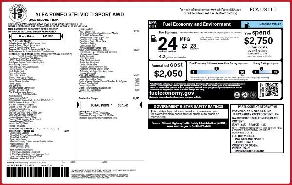 New 2020 Alfa Romeo Stelvio Ti Sport for sale $57,645 at Alfa Romeo of Westport in Westport CT 06880 2