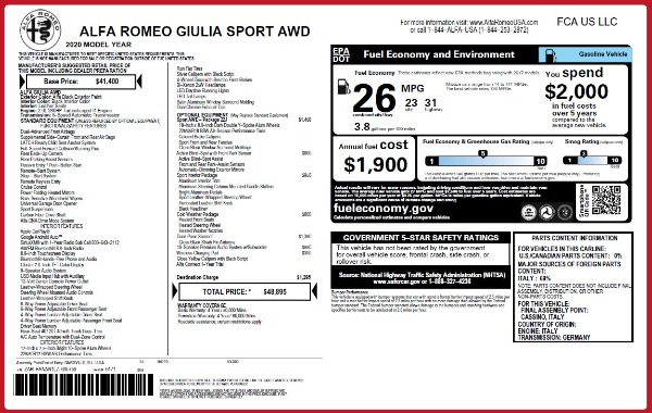 New 2020 Alfa Romeo Giulia Sport Q4 for sale $48,895 at Alfa Romeo of Westport in Westport CT 06880 2