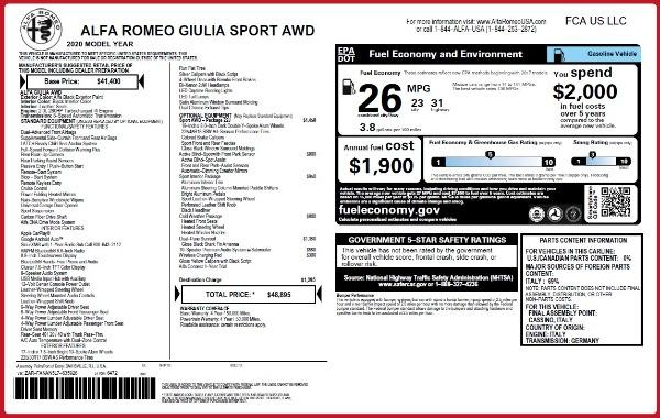 New 2020 Alfa Romeo Giulia Sport Q4 for sale $48,895 at Alfa Romeo of Westport in Westport CT 06880 23