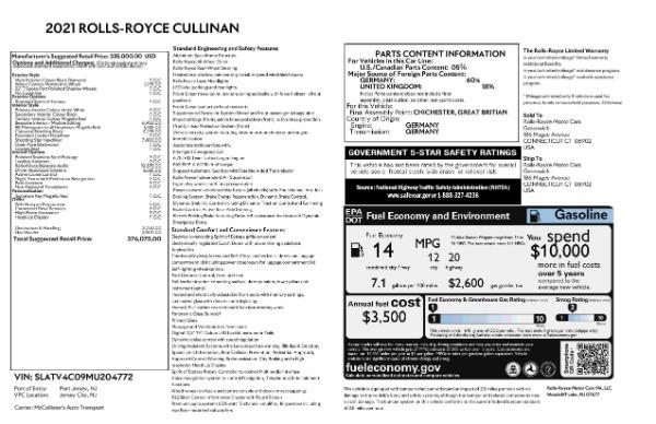New 2021 Rolls-Royce Cullinan for sale $376,075 at Alfa Romeo of Westport in Westport CT 06880 9