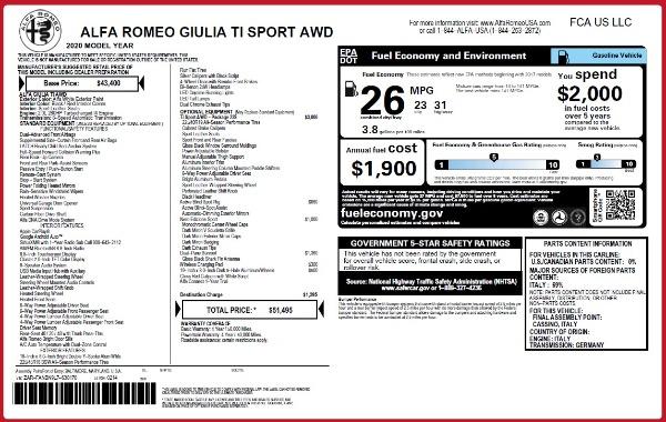 New 2020 Alfa Romeo Giulia Ti Sport Q4 for sale $51,495 at Alfa Romeo of Westport in Westport CT 06880 28