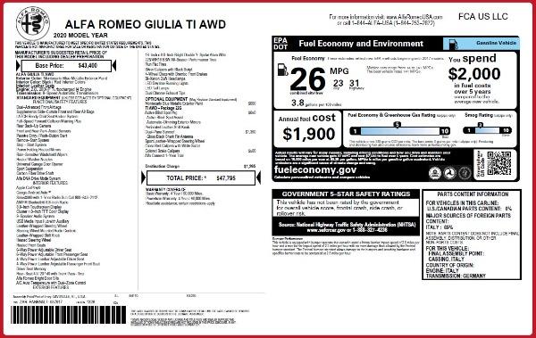 New 2020 Alfa Romeo Giulia Ti Q4 for sale $47,795 at Alfa Romeo of Westport in Westport CT 06880 28