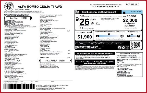 New 2021 Alfa Romeo Giulia Ti Q4 for sale $48,690 at Alfa Romeo of Westport in Westport CT 06880 2
