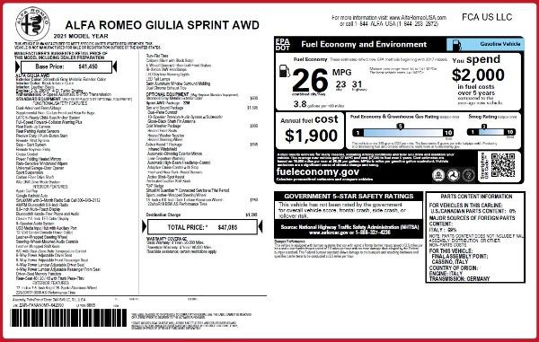 New 2021 Alfa Romeo Giulia Q4 for sale $47,085 at Alfa Romeo of Westport in Westport CT 06880 28