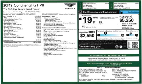 New 2020 Bentley Continental GT V8 for sale $283,430 at Alfa Romeo of Westport in Westport CT 06880 28
