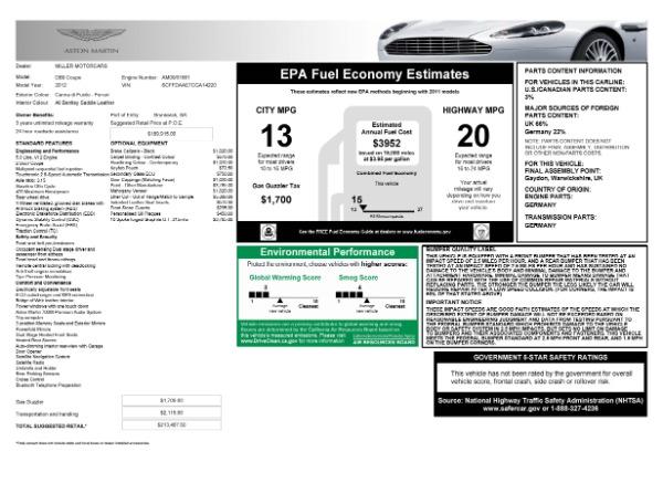 Used 2012 Aston Martin DB9 for sale Call for price at Alfa Romeo of Westport in Westport CT 06880 21