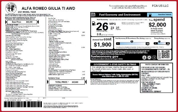 New 2021 Alfa Romeo Giulia Ti Q4 for sale $52,600 at Alfa Romeo of Westport in Westport CT 06880 28
