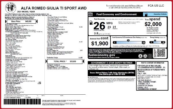 New 2021 Alfa Romeo Giulia Ti Sport Q4 for sale $53,850 at Alfa Romeo of Westport in Westport CT 06880 25