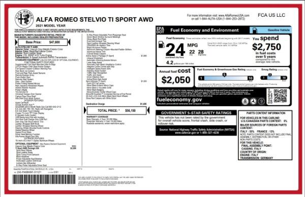 New 2021 Alfa Romeo Stelvio Ti Sport for sale $55,950 at Alfa Romeo of Westport in Westport CT 06880 2