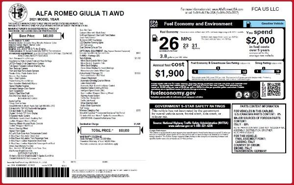 New 2021 Alfa Romeo Giulia Ti Q4 for sale $50,850 at Alfa Romeo of Westport in Westport CT 06880 2