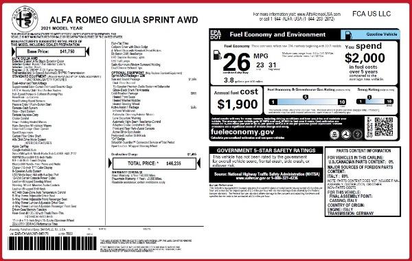 New 2021 Alfa Romeo Giulia Q4 for sale $46,235 at Alfa Romeo of Westport in Westport CT 06880 2