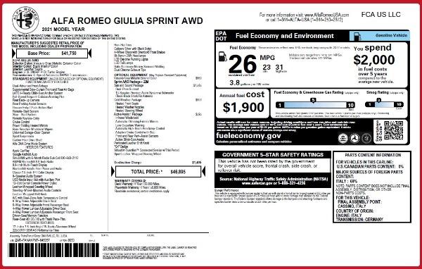 New 2021 Alfa Romeo Giulia Q4 for sale $46,895 at Alfa Romeo of Westport in Westport CT 06880 26