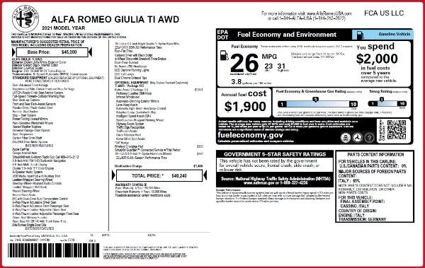 New 2021 Alfa Romeo Giulia Ti Q4 for sale $49,240 at Alfa Romeo of Westport in Westport CT 06880 2