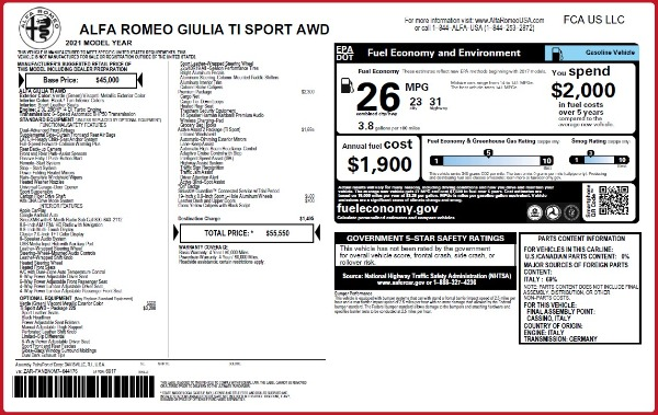 New 2021 Alfa Romeo Giulia Ti Sport Q4 for sale $55,550 at Alfa Romeo of Westport in Westport CT 06880 2