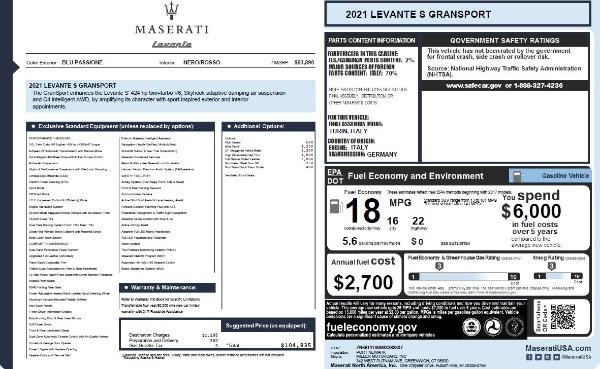 New 2021 Maserati Levante S Q4 GranSport for sale $104,835 at Alfa Romeo of Westport in Westport CT 06880 2