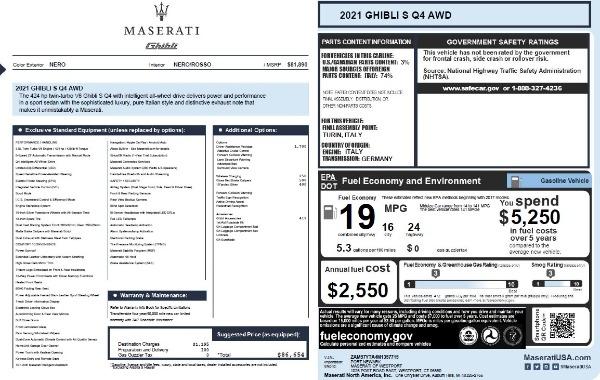 New 2021 Maserati Ghibli S Q4 for sale $86,654 at Alfa Romeo of Westport in Westport CT 06880 27