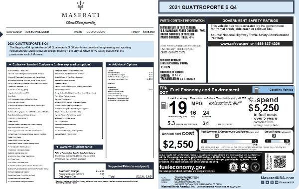 New 2021 Maserati Quattroporte S Q4 for sale $114,149 at Alfa Romeo of Westport in Westport CT 06880 26