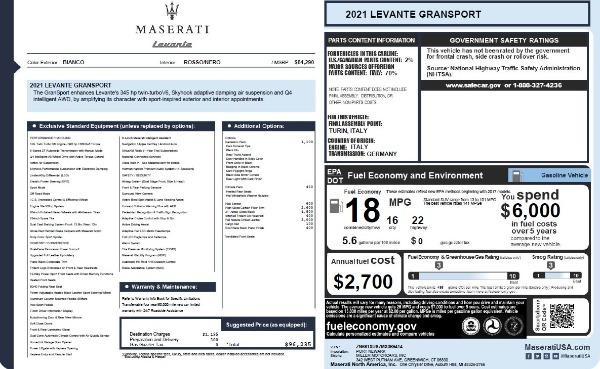 New 2021 Maserati Levante Q4 GranSport for sale $96,235 at Alfa Romeo of Westport in Westport CT 06880 26
