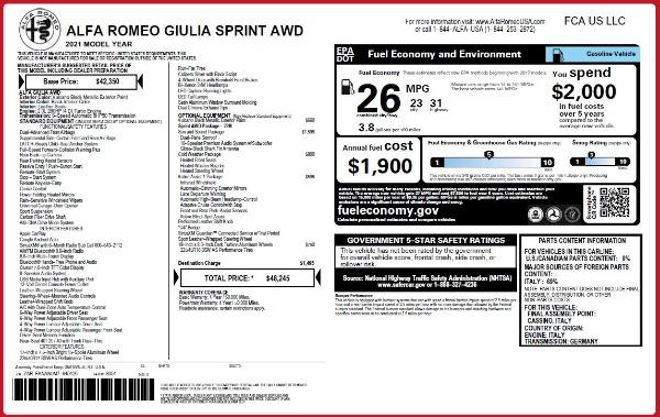 New 2021 Alfa Romeo Giulia Q4 for sale $48,245 at Alfa Romeo of Westport in Westport CT 06880 2