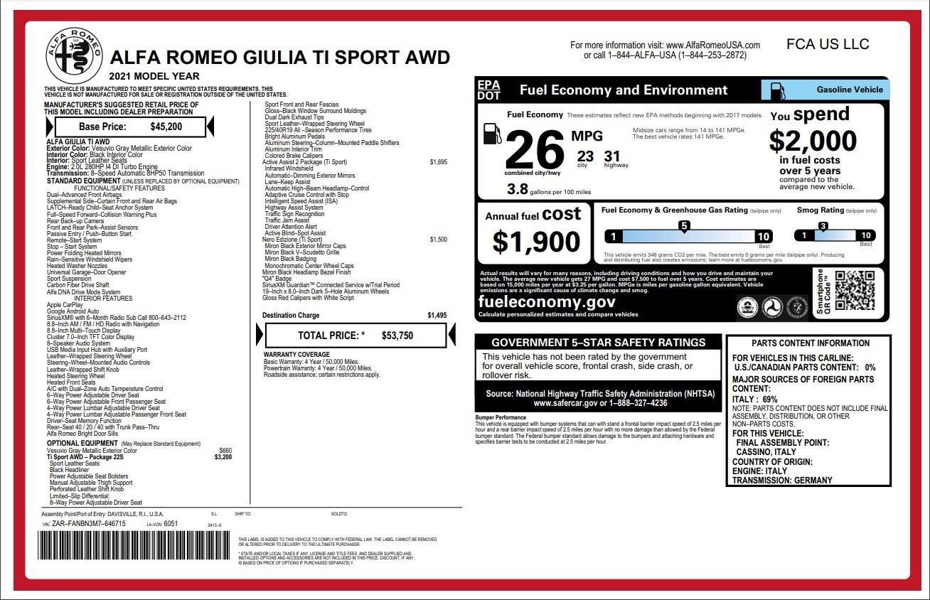New 2021 Alfa Romeo Giulia Ti Sport for sale $53,750 at Alfa Romeo of Westport in Westport CT 06880 1