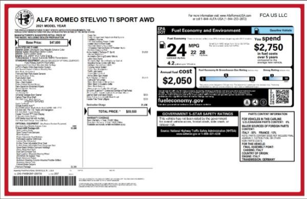 New 2021 Alfa Romeo Stelvio Ti Sport for sale $59,550 at Alfa Romeo of Westport in Westport CT 06880 2