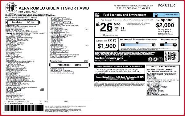 New 2021 Alfa Romeo Giulia Ti Sport Q4 for sale Call for price at Alfa Romeo of Westport in Westport CT 06880 26
