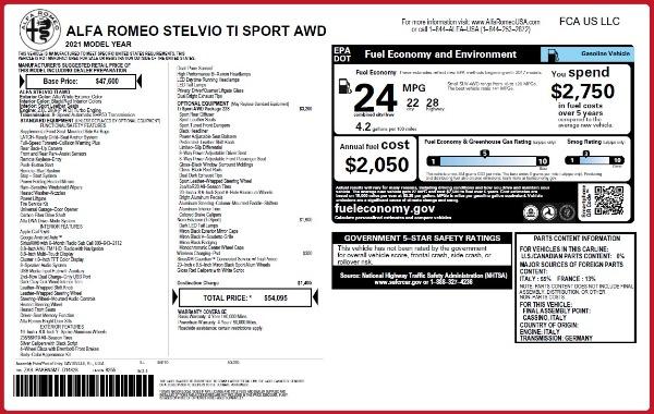 New 2021 Alfa Romeo Stelvio Ti Sport Q4 for sale $54,095 at Alfa Romeo of Westport in Westport CT 06880 28