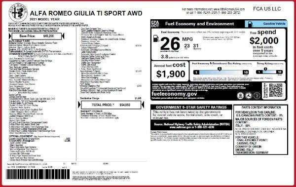 New 2021 Alfa Romeo Giulia Ti Sport Q4 for sale $54,050 at Alfa Romeo of Westport in Westport CT 06880 25