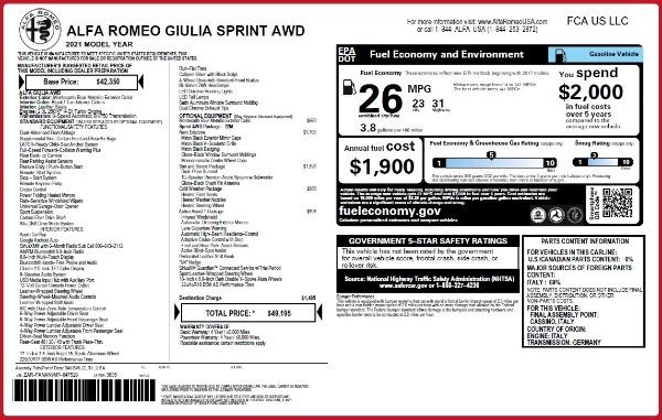 New 2021 Alfa Romeo Giulia Q4 for sale $49,195 at Alfa Romeo of Westport in Westport CT 06880 2