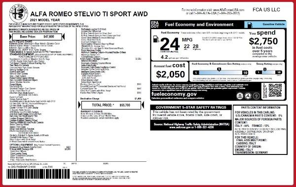 New 2021 Alfa Romeo Stelvio Ti Sport Q4 for sale $55,700 at Alfa Romeo of Westport in Westport CT 06880 27