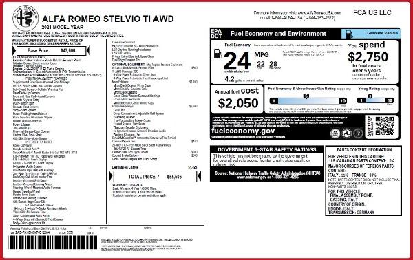 New 2021 Alfa Romeo Stelvio Ti Q4 for sale Sold at Alfa Romeo of Westport in Westport CT 06880 2