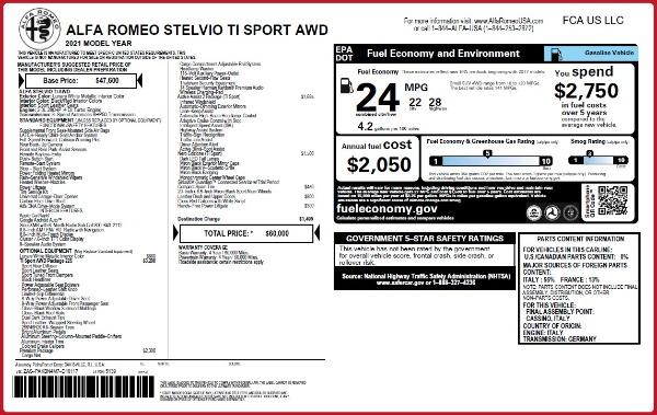 New 2021 Alfa Romeo Stelvio Ti Sport Q4 for sale $60,000 at Alfa Romeo of Westport in Westport CT 06880 2