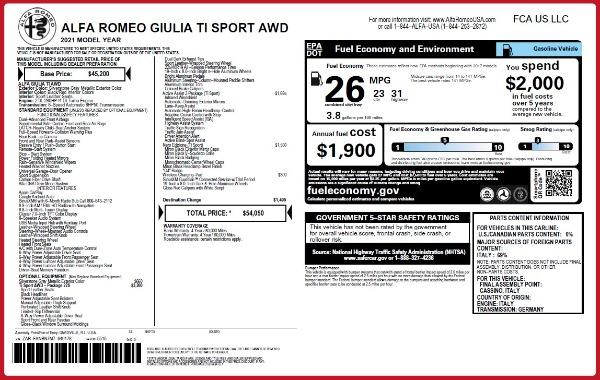 New 2021 Alfa Romeo Giulia Ti Sport Q4 for sale $54,050 at Alfa Romeo of Westport in Westport CT 06880 2