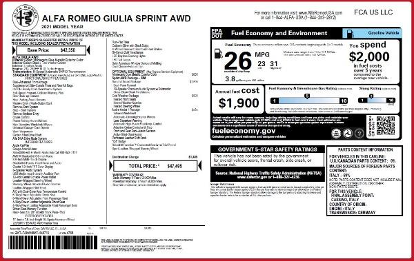 New 2021 Alfa Romeo Giulia Q4 for sale Call for price at Alfa Romeo of Westport in Westport CT 06880 23