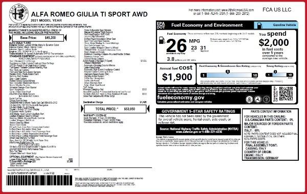 New 2021 Alfa Romeo Giulia Ti Sport Q4 for sale $53,050 at Alfa Romeo of Westport in Westport CT 06880 22