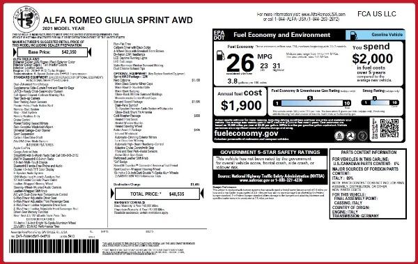 New 2021 Alfa Romeo Giulia Q4 for sale Sold at Alfa Romeo of Westport in Westport CT 06880 2