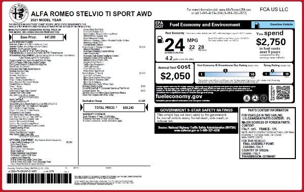 New 2021 Alfa Romeo Stelvio Ti Sport Q4 for sale $56,240 at Alfa Romeo of Westport in Westport CT 06880 2