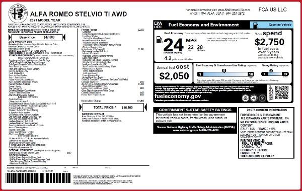 New 2021 Alfa Romeo Stelvio Ti Q4 for sale $56,800 at Alfa Romeo of Westport in Westport CT 06880 2