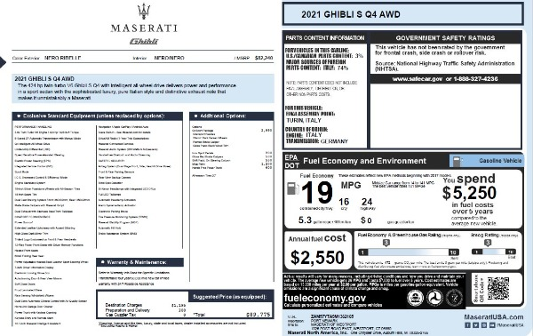 New 2021 Maserati Ghibli S Q4 for sale $89,775 at Alfa Romeo of Westport in Westport CT 06880 2